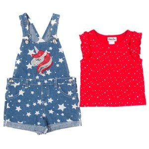Little Lass Matching Sets - 2pc Disco Dot Top & Denim Shortalls Sz 24 mo Stars